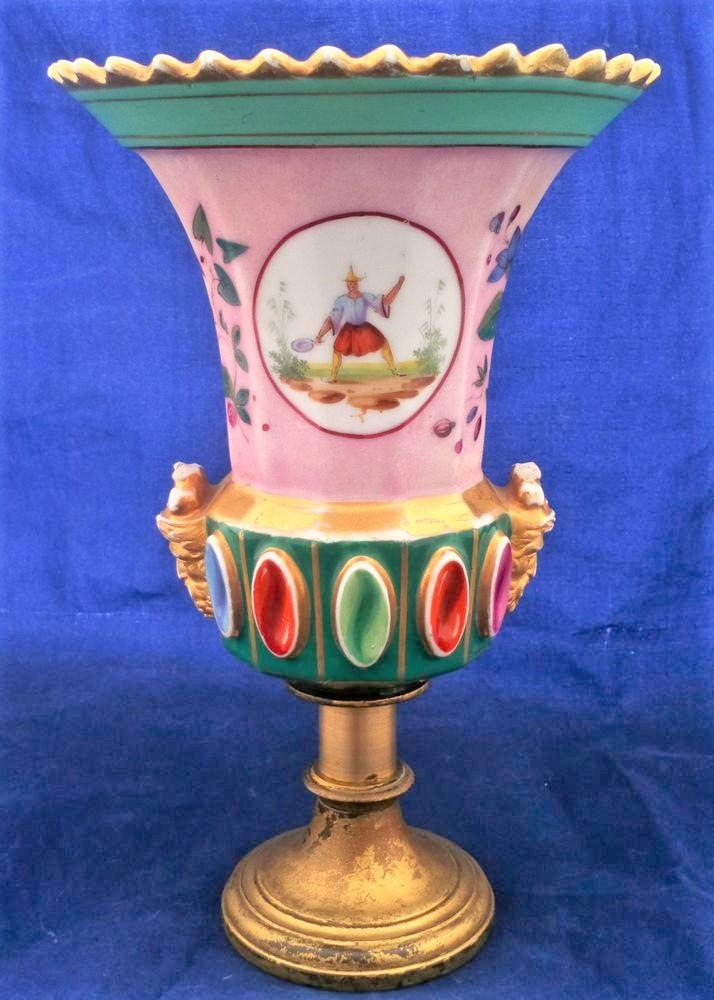 Antique French Old Paris Porcelain Medici Shape Vase Chinoiserie Faux Jewelled Bourbon Restoration circa 1830