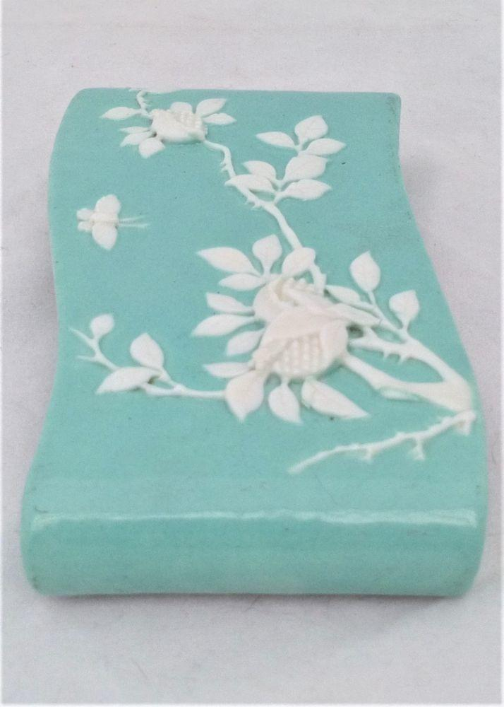 Antique Chinese Porcelain Wrist Rest Celadon Glazed Ground Carved Fruit and Butterfly 19th C