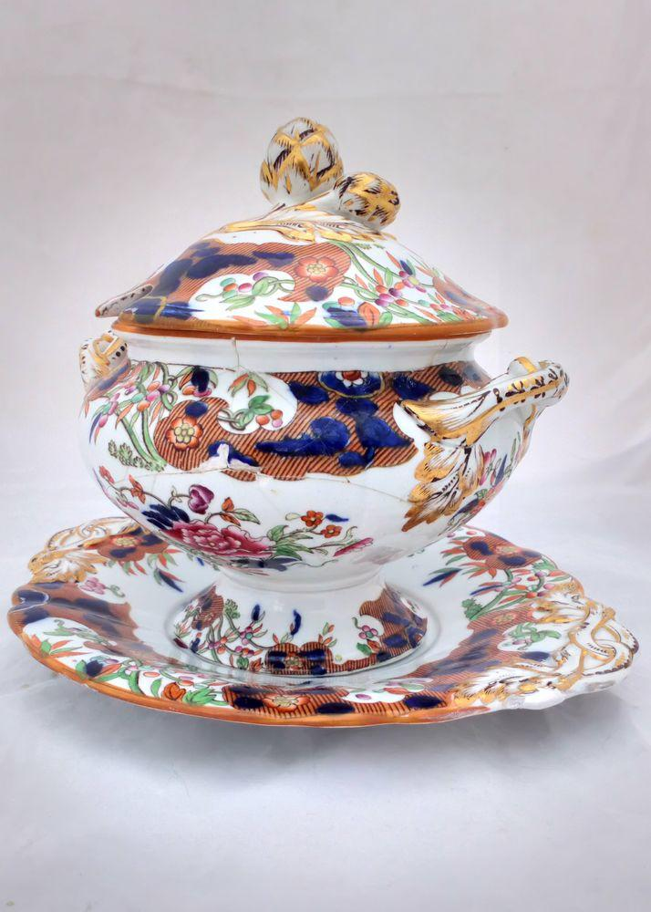 Antique Minton Best Body Pottery Sauce Tureen Flow Blue and D'Orsay Japan hand coloured transfer ware pattern  diamond registration mark dated 4th December 1846
