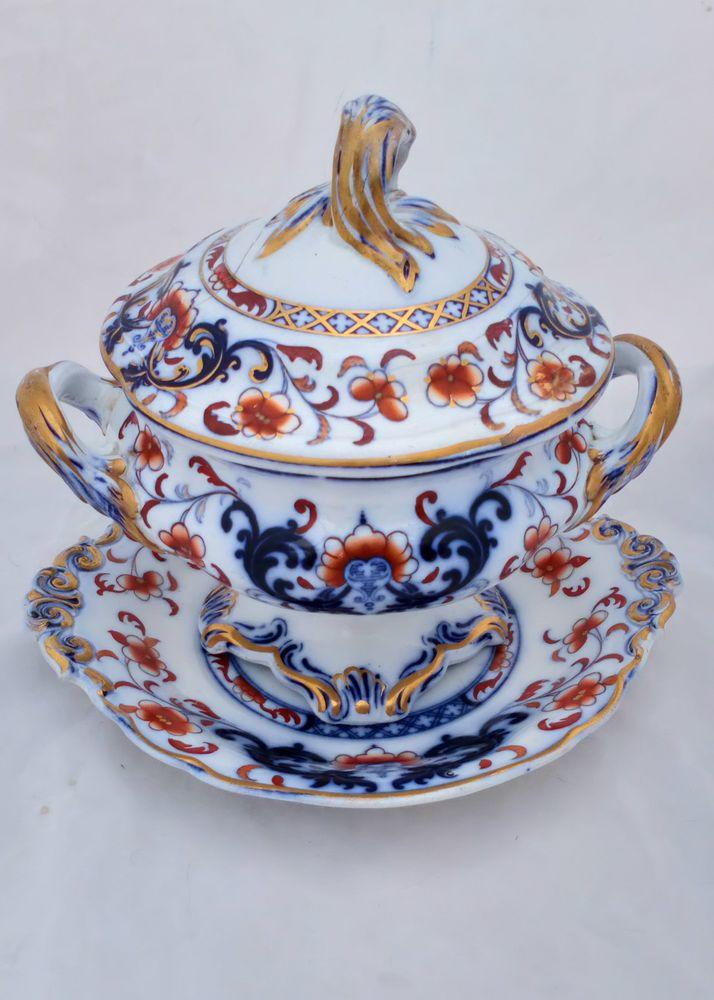 Antique Minton Ironstone Sauce Tureen Imari Flow Blue Pattern Number 9698  Circa 1850