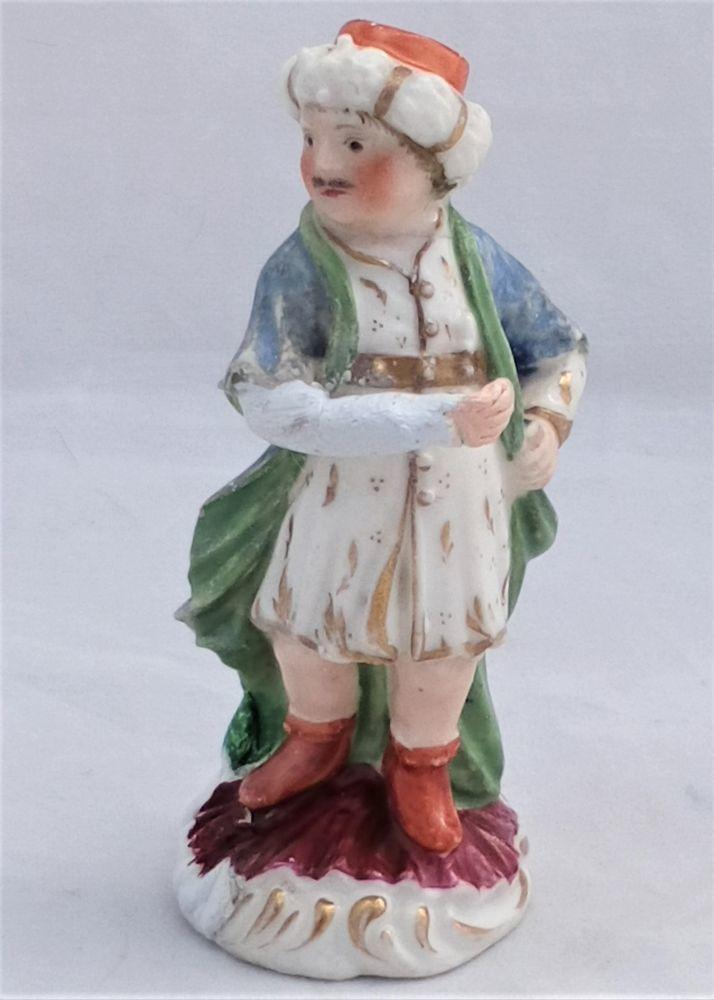 Antique Miniature Derby Porcelain Polychrome Enamelled Figurine of a Turk Incised No 3  circa 1770 As Found