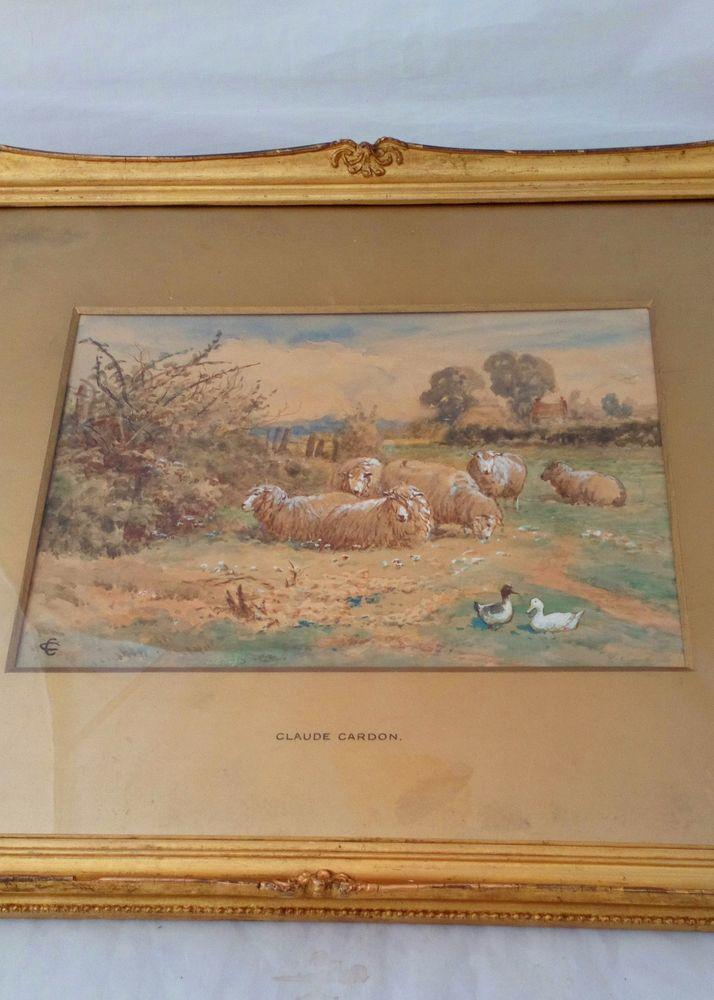 Antique Gilt Framed Glazed and Gilt Mounted Claude Cardon Watercolour  painting Titled A Field at Whitstable Kent with sheep and ducks circa 1900