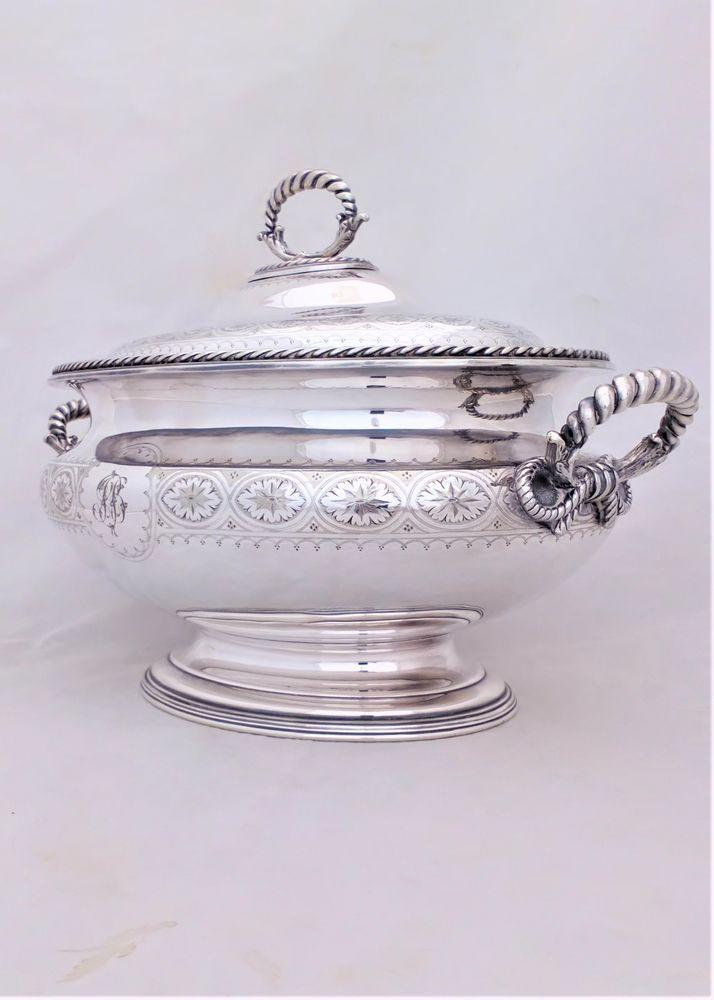 Large antique Victorian Elkington and Co silver plated soup tureen 16 inches long capacity ten pints Aesthetic movement decoration date code for 1885.