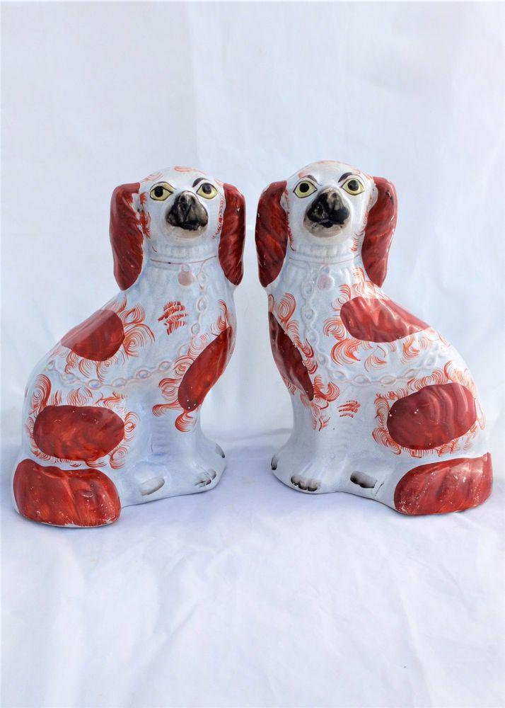 Antique Pair Staffordshire Pottery Dogs Russet and White Spaniels 10 inches high circa 1870