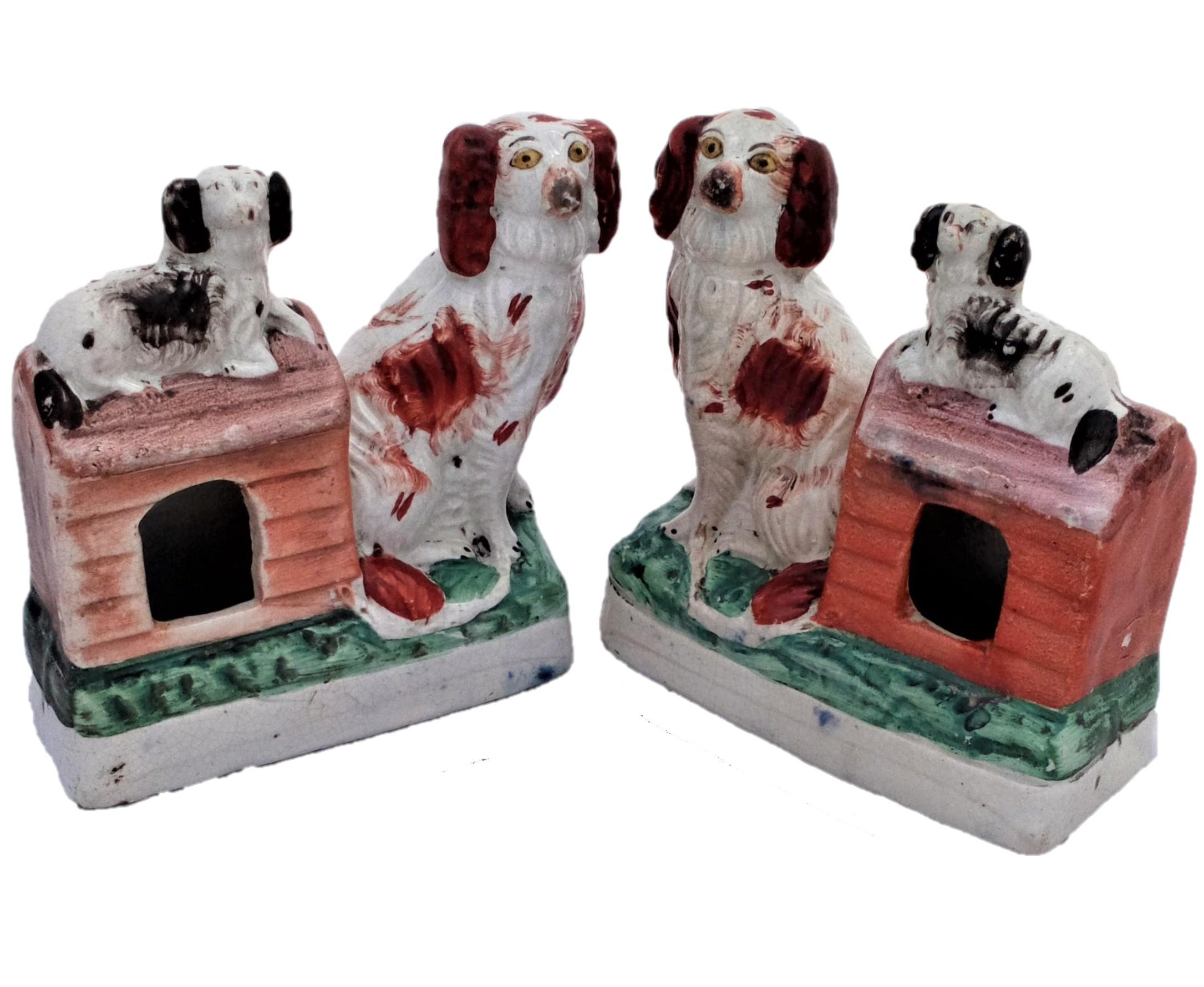 Antique Pair Staffordshire Figure Group Staffordshire Dogs with Puppies sat on Kennel roof circa 1860