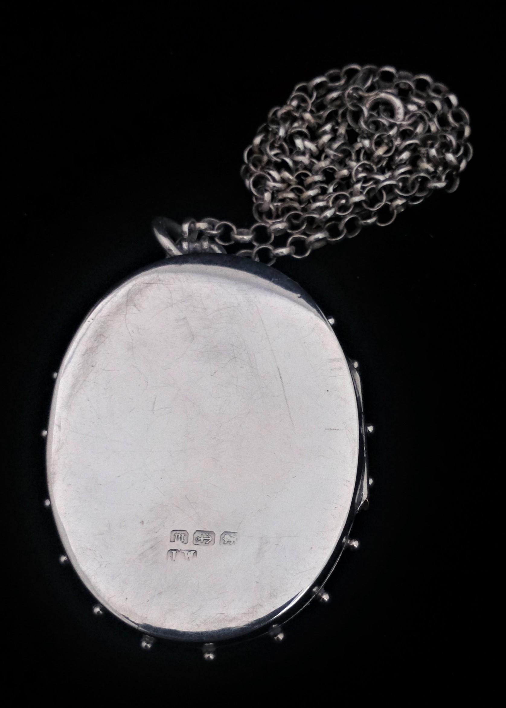 Antique Victorian Aesthetic Movement Large Silver Locket and Chain 1886 Snowdrop