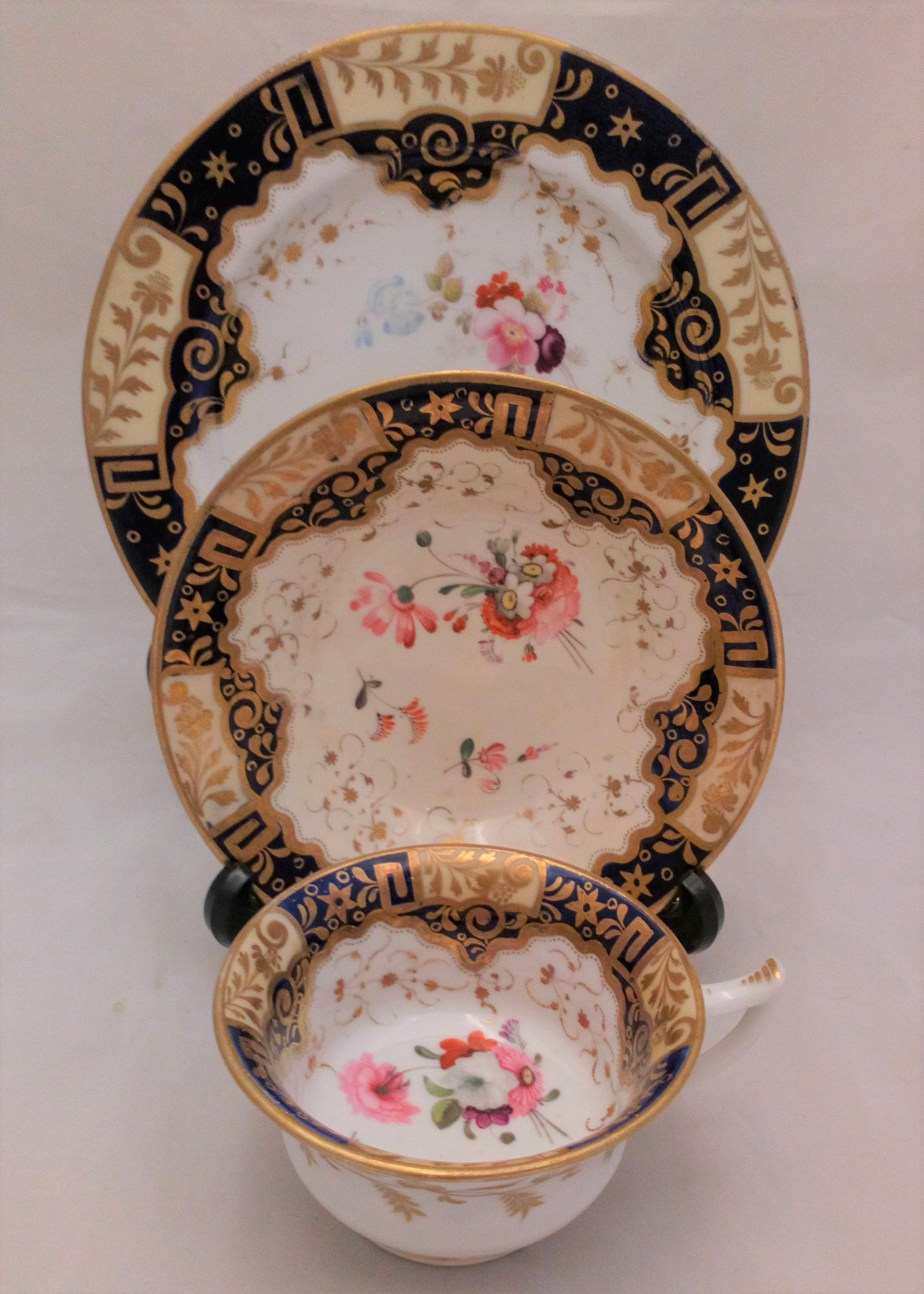 Antique Regency Porcelain Etruscan Shaped Cup, Saucer and Plate hand painted pattern number 812 attributed to John Yates circa 1820 no2