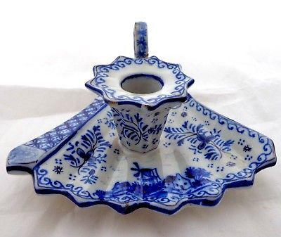 Delft Chamberstick Ladies Hand Fan Shape Blue & White Alchemy Mark 19thC