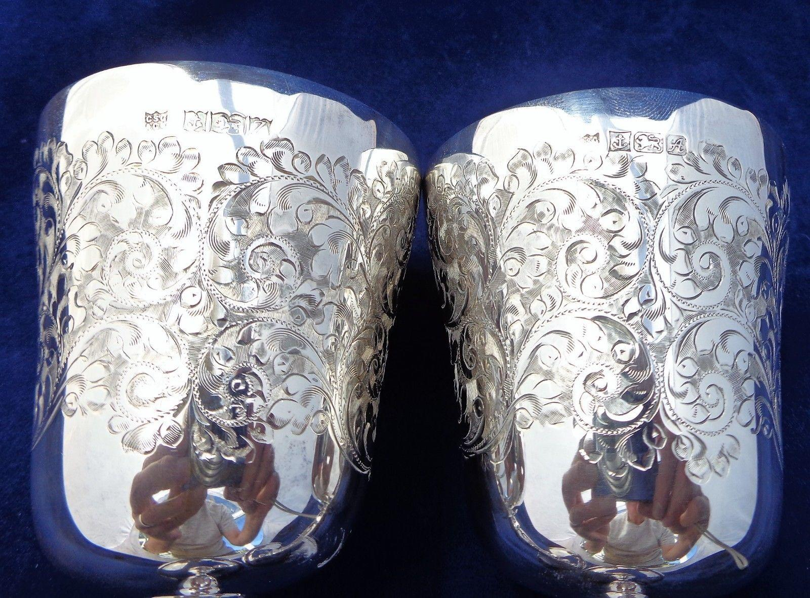 Pair Vintage Silver Goblets Charles S Green Birmingham 238g 1974-75 Engraved