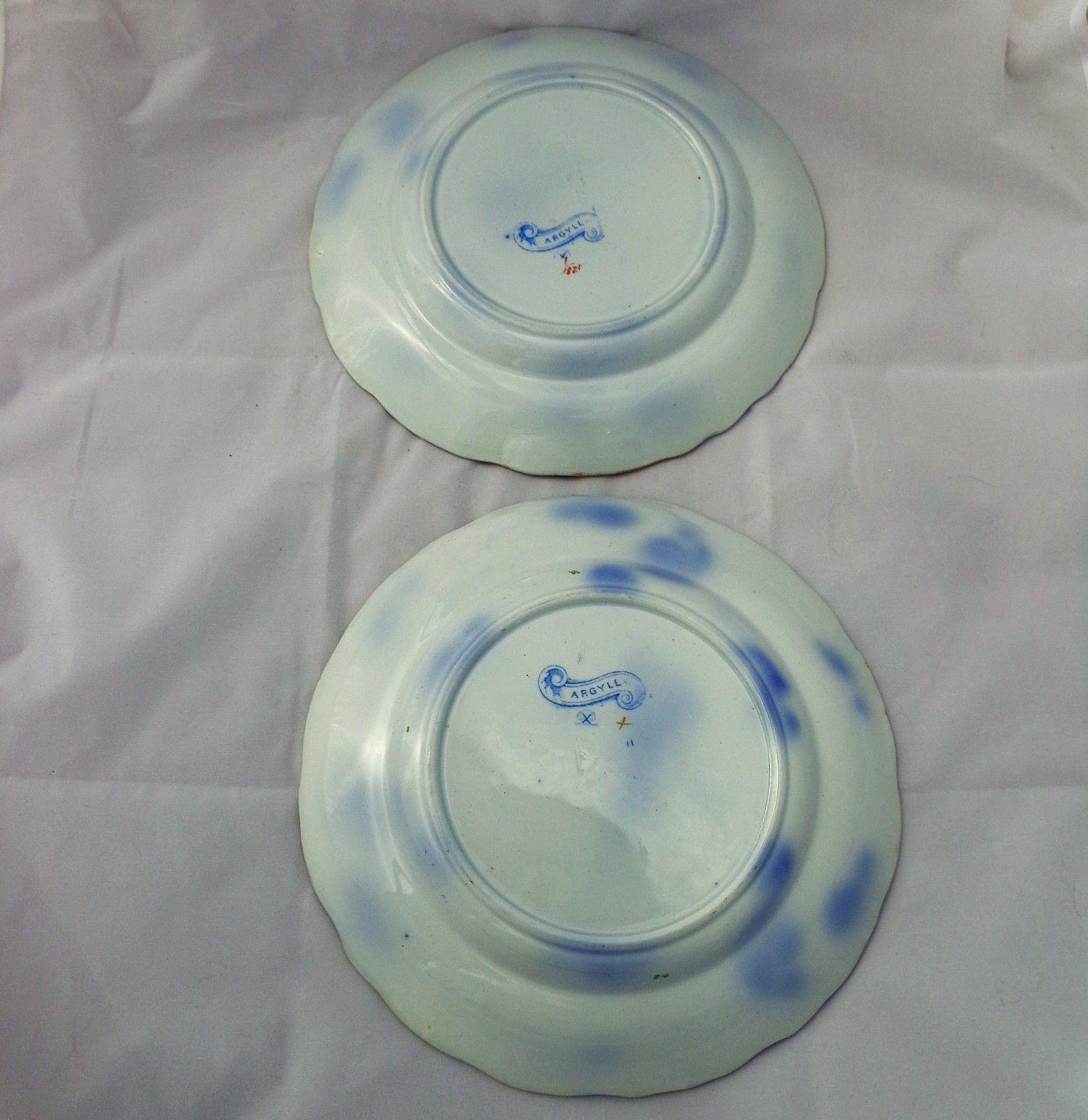 Pair Antique Pearlware Pottery Plates Thomas Dimmock Coloured Argyll Patt c 1850