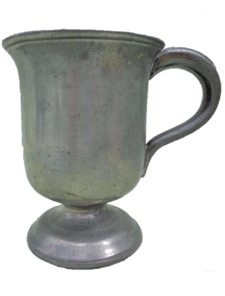 Antique Pewter half pint footed tankard