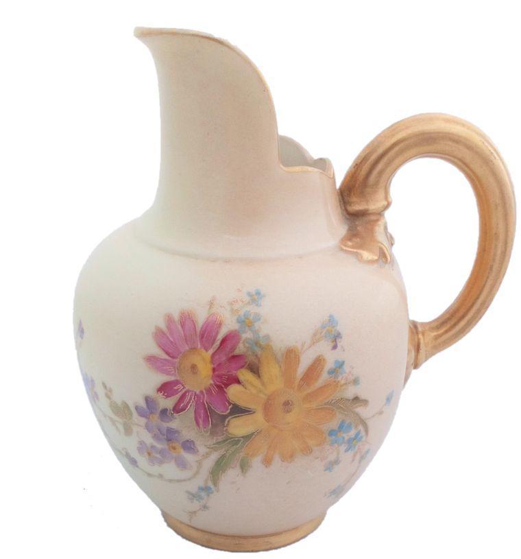 Royal Worcester Ewer Blush Painted Flowers Shape 1094 Antique Edwardian 1909