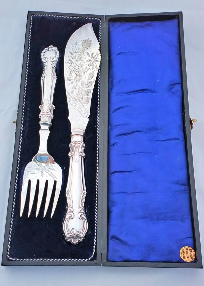 Aesthetic Movement Silver Plated Fish Servers Deykin & Harrison Box Antique 1895