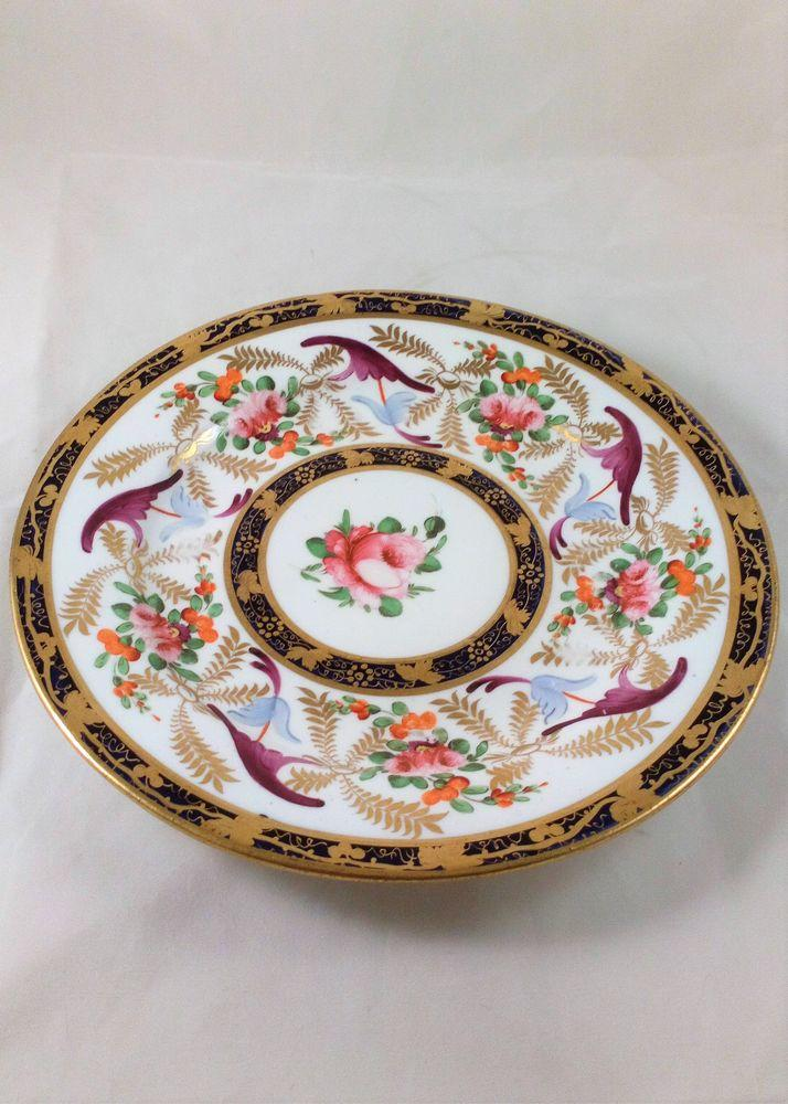 Antique Georgian Porcelain Plate Hand Painted and Gilded Roses Grapevine 1825-30