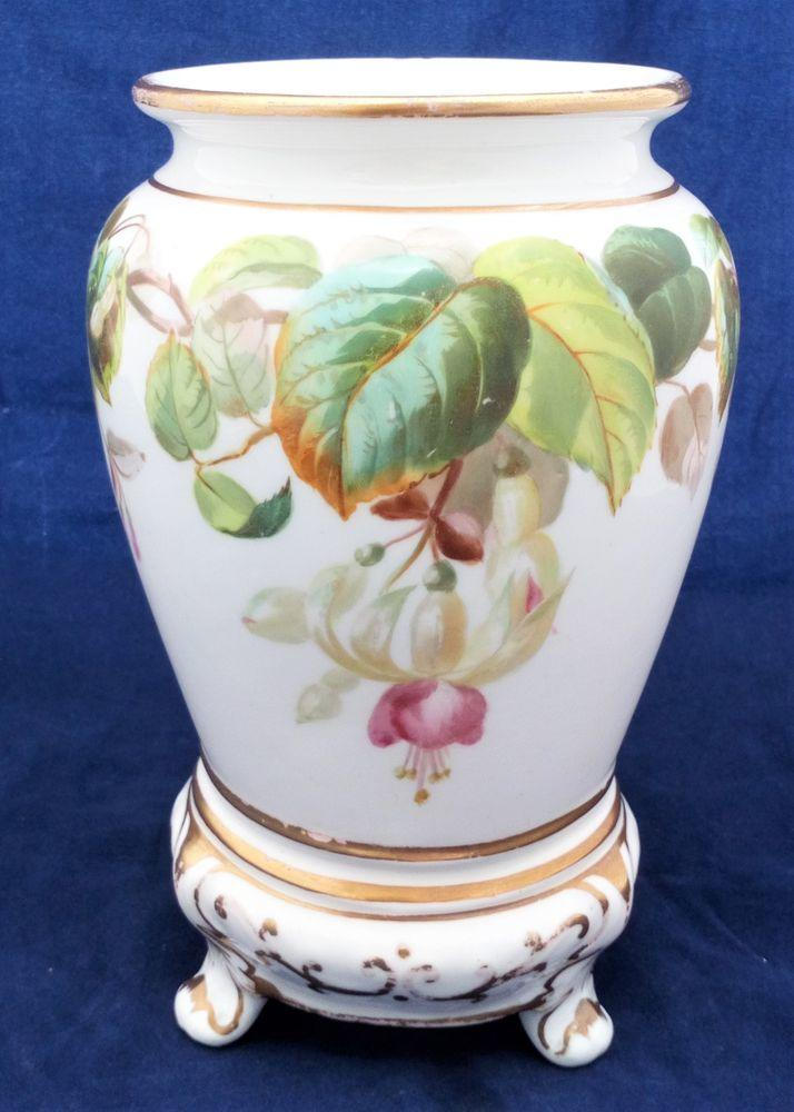 Mid Victorian Ridgway Porcelain Vase Integral Stand Hand Painted Fuchsia