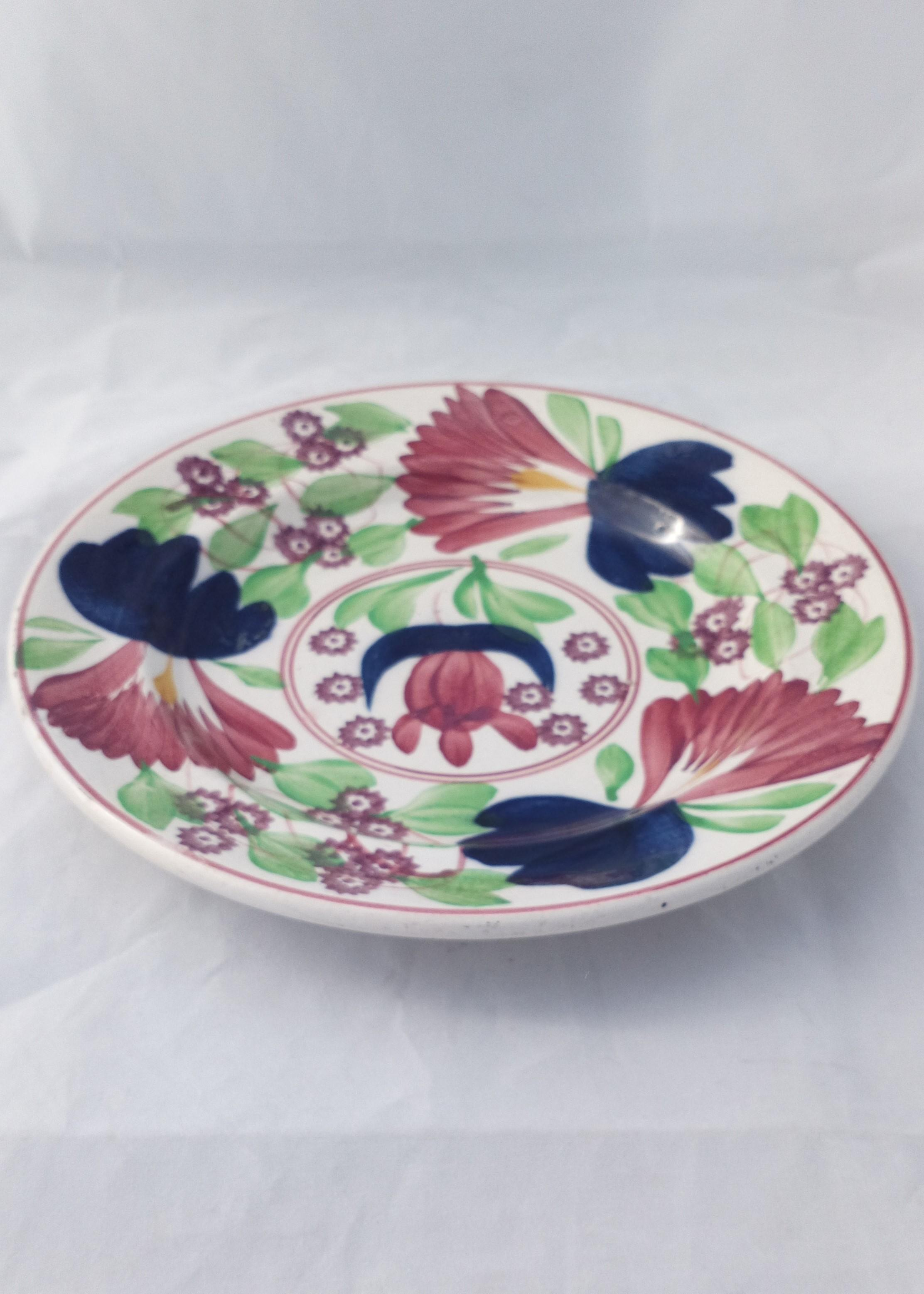 Antique Spongeware Plate Hand Painted Tulip Pattern Norman W Franks, London 1910