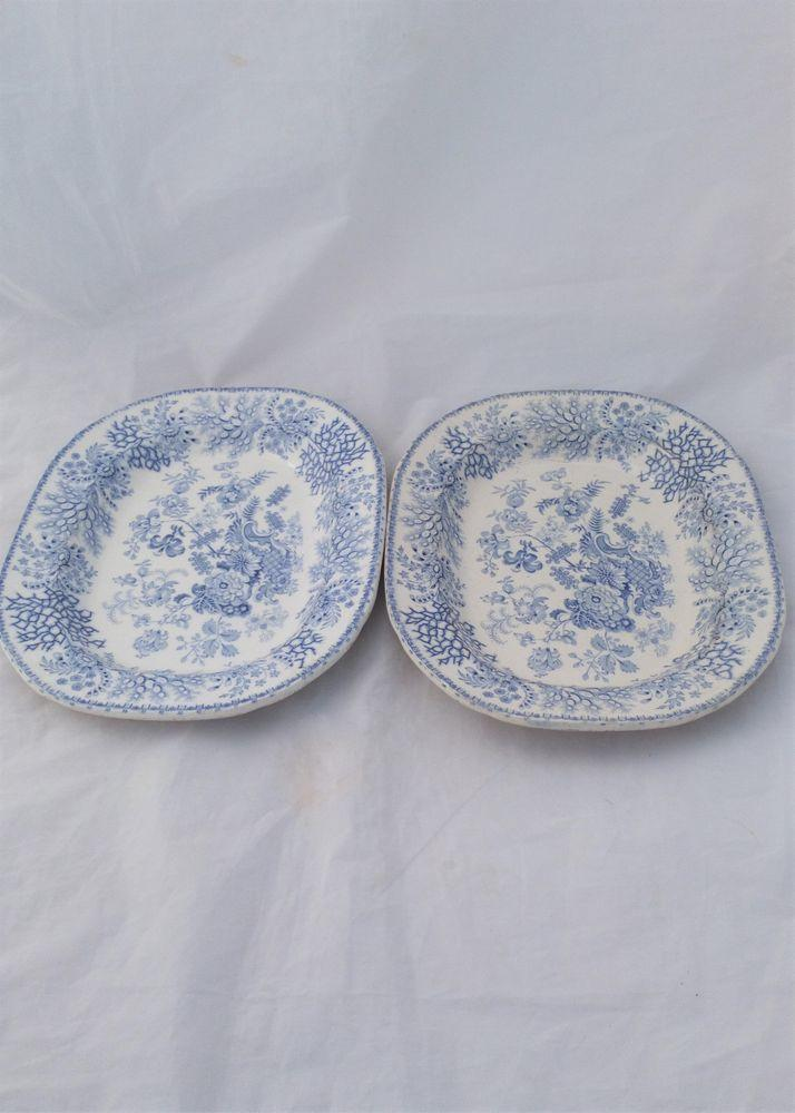 Pair Transfer Printed Blue and White Seaweed Floral Meat Plates c 1840
