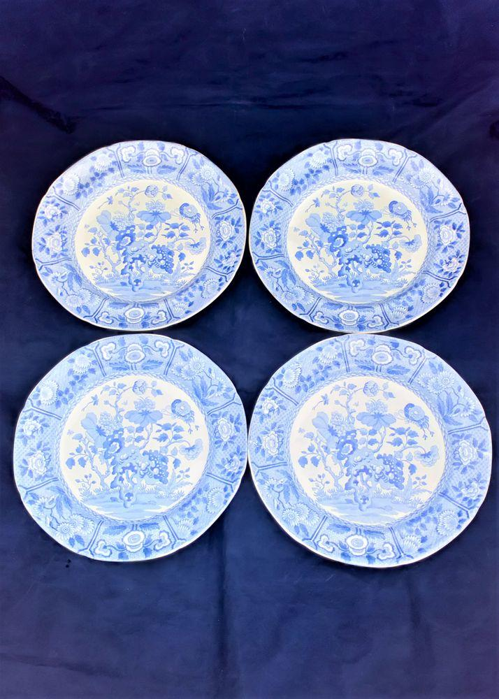 Spode India Pattern Blue and White Pearlware Plates circa 1815 Set of Four