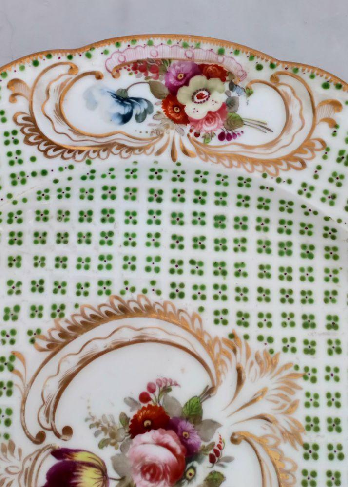 Coalport Porcelain Cabinet Plate Painted Flowers Sevres Style Floral Ground 1820