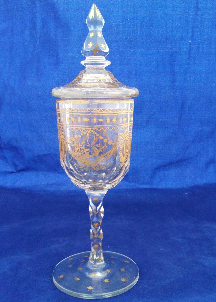 Antique Bohemian Glass Lidded Small Goblet Gilded Decoration Faceted Stem c 1880
