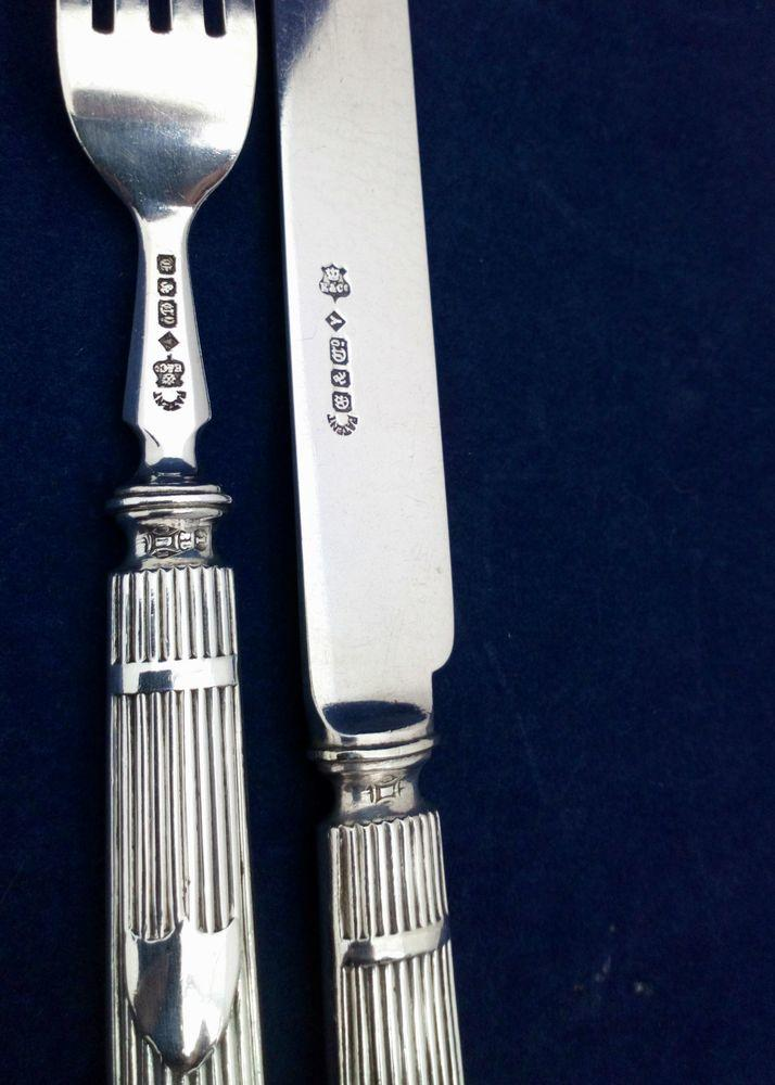 Elkington Silver Plate Six Place Cutlery Set Shield Reeded Handles Antique 1863