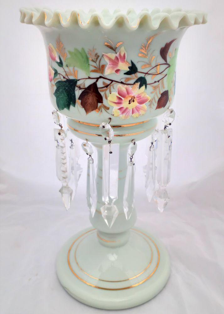 Pale Duck Egg Blue Opaque Glass Mantle Lustre Vase Antique Victorian c 1870