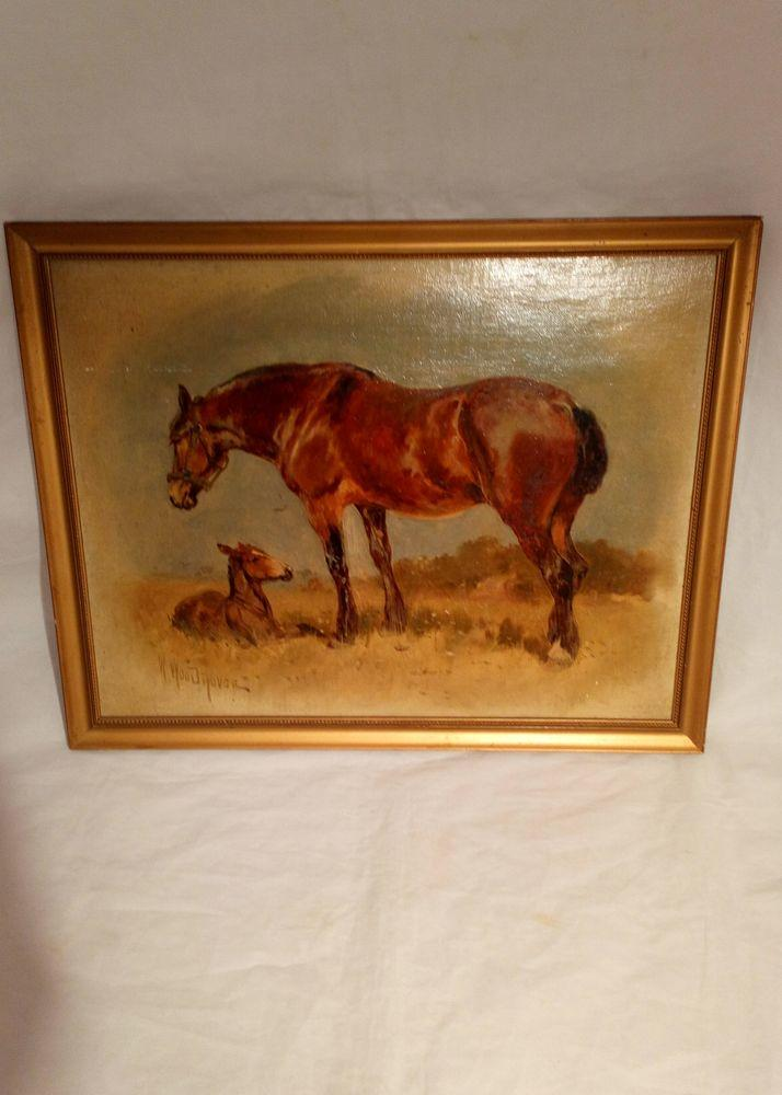 William Woodhouse Oil Painting of Horse and Foal Signed Antique circa 1910 - 1920