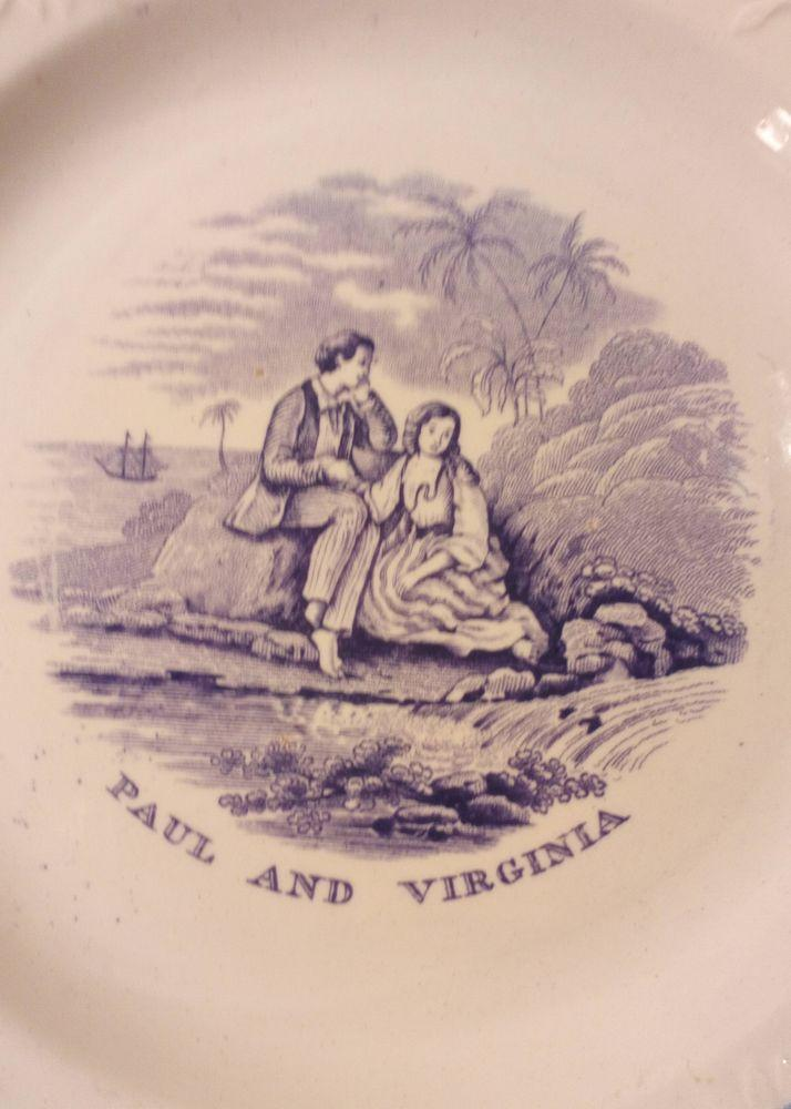 Antique William Smith and Co Stockton Plate Paul and Virginia Series Transfer c 1835