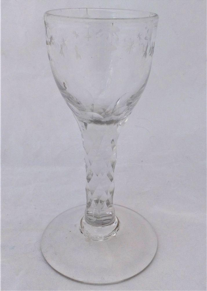 Antique Georgian Round Bowl Diamond Faceted Stem OXO Wine Glass circa 1780