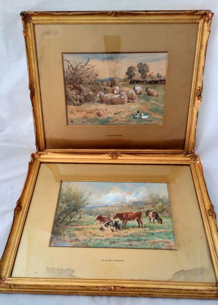 Antique Gilt Framed Glazed and Mounted Claude Cardon Watercolour Painting titled A Summers Day - Cows in a field rural pastoral scene circa 1900