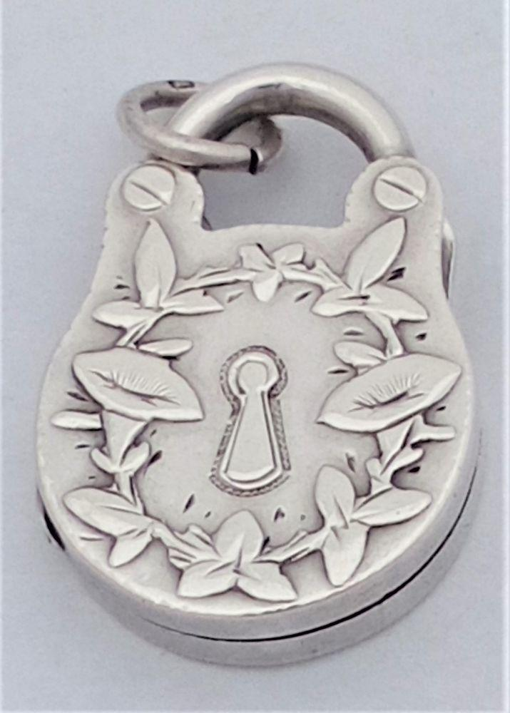 Antique Victorian Silver Padlock Shaped Locket Pendant Aesthetic Movement Hallmarked Birmingham 1886