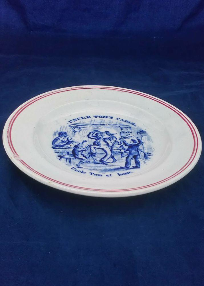 Antique Transferware Pearlware Plate Based upon Harriet Beecher Stowe's Anti Slavery novel Uncle Tom's Cabin with a print by George Cruikshank in blue of Uncle Tom at Home circa 1855