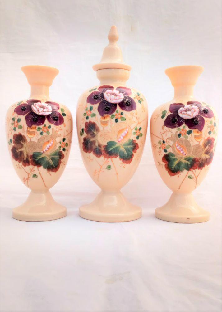 Garniture of Floral Painted and Jewelled Bohemian Peach Coloured Opaque Glass Vases one with cover Antique Victorian circa 1870