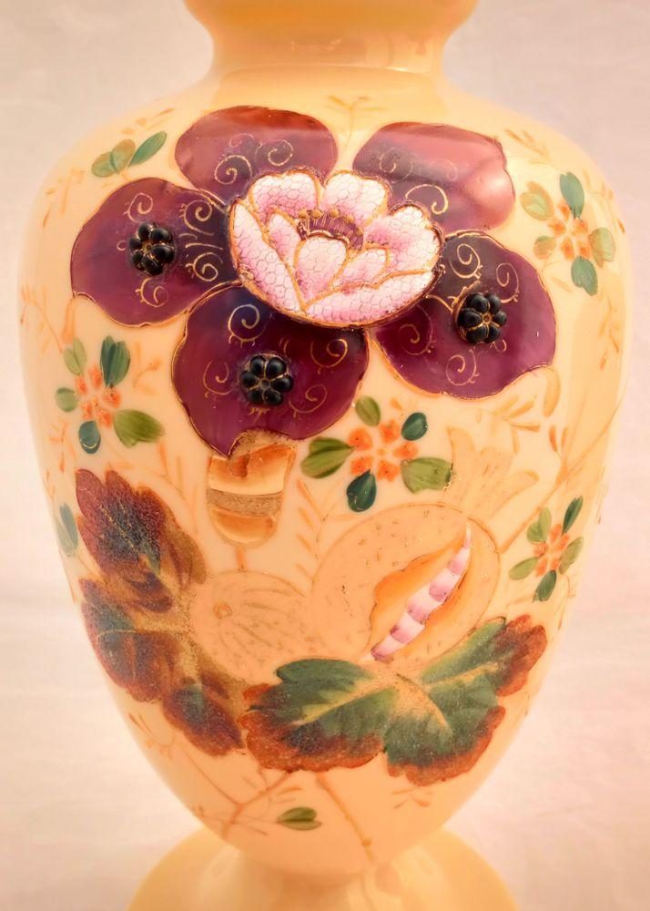 Garniture of Floral Painted Peach Coloured Opaque Glass Vases Antique Victorian c 1870
