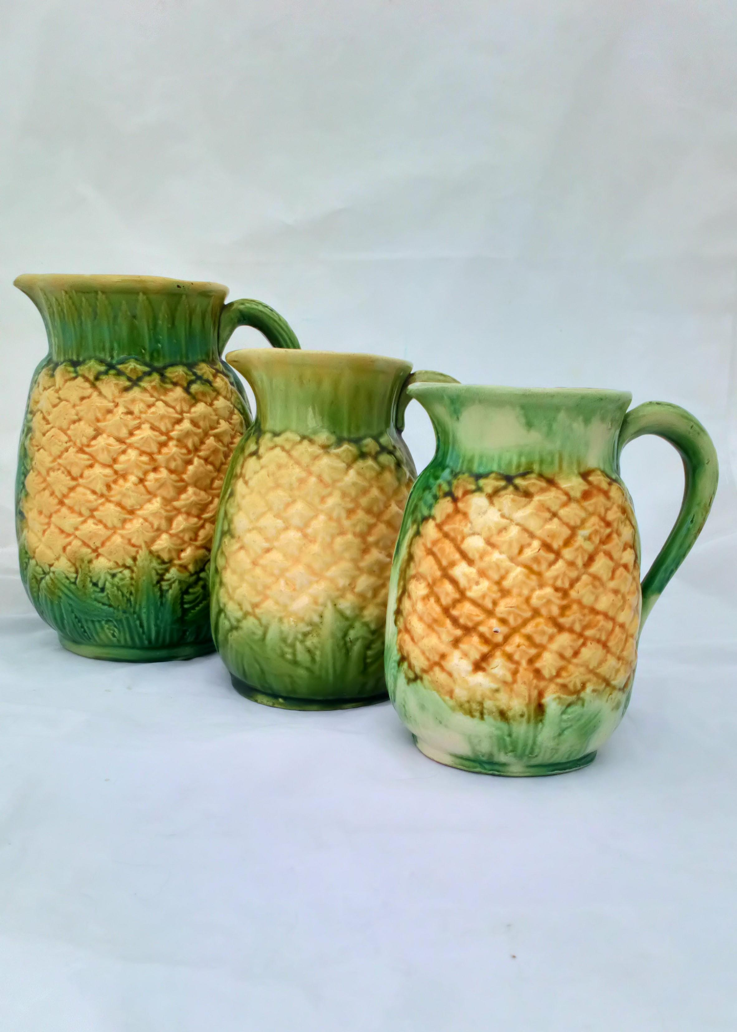 Antique Victorian Majolica Pineapple Jugs Graduated Set of Three Naturalistically Moulded Green and Yellow Glaze  circa 1870