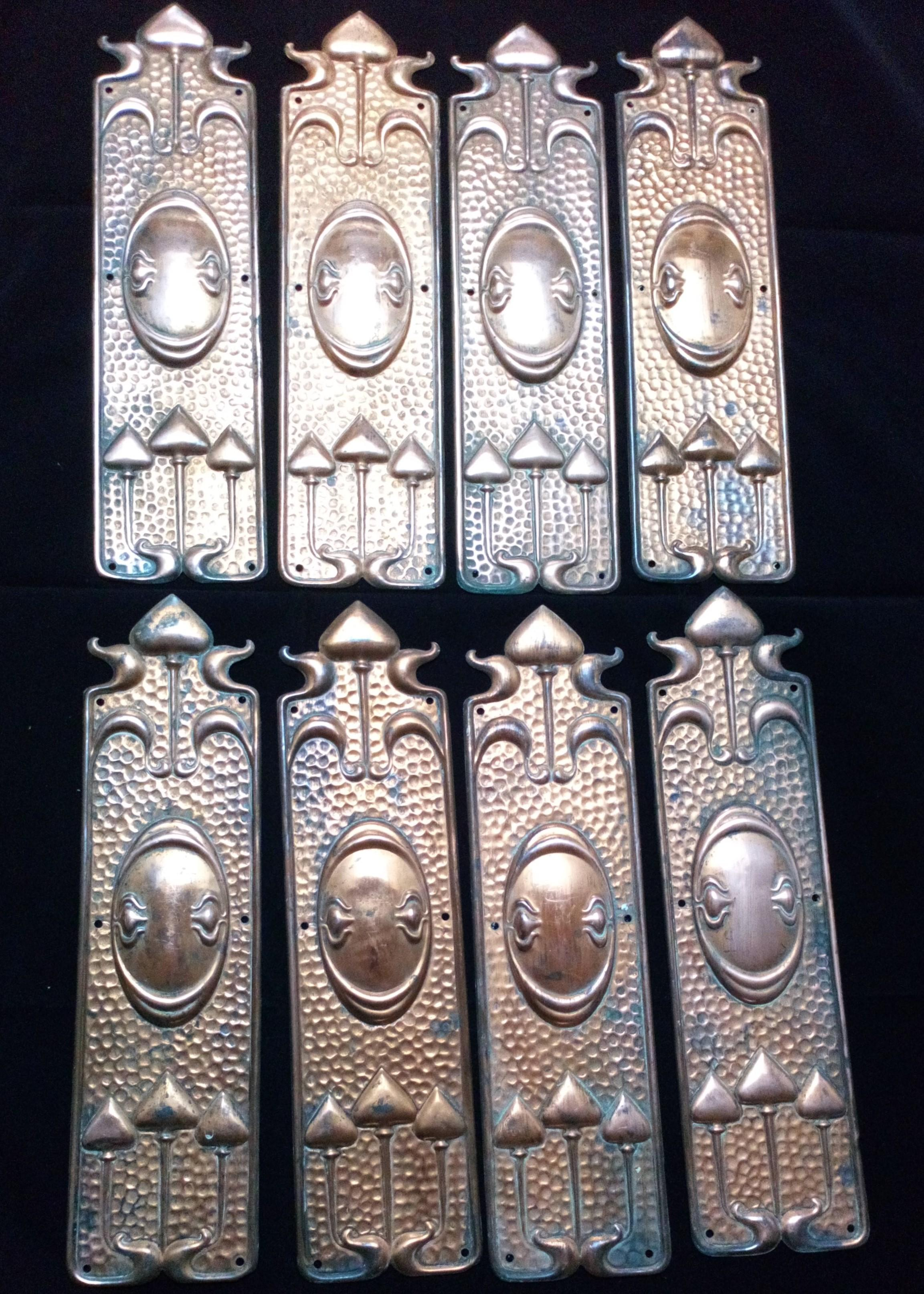 Antique set of eight Art Nouveau Pressed Copper Finger Plates  for doors in original condition circa 1900