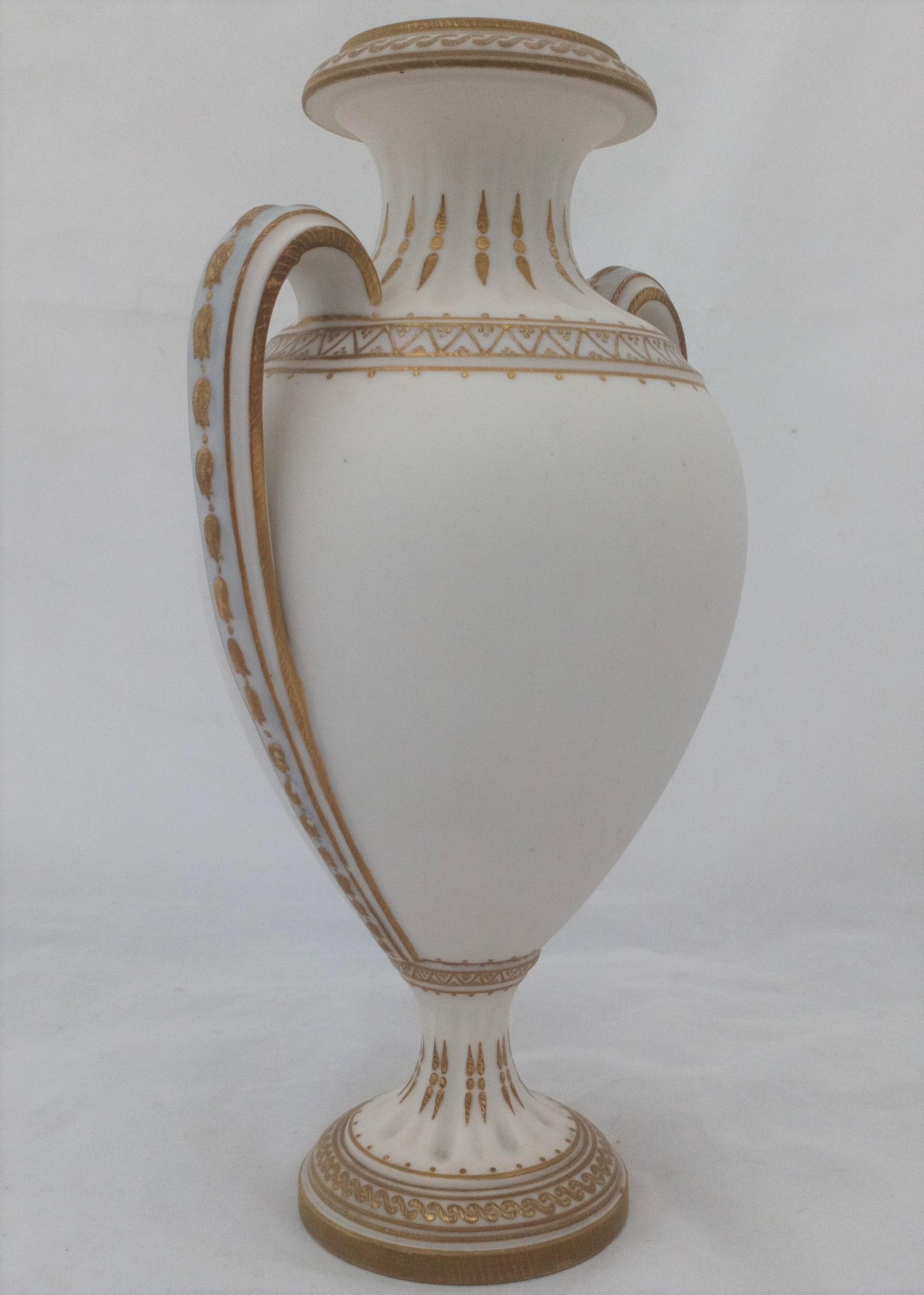 An antique Ceramic and Crystal Palace Art Union parian porcelain vase beautifully hand painted classical Roman figures impressed Hunter and dated 1881