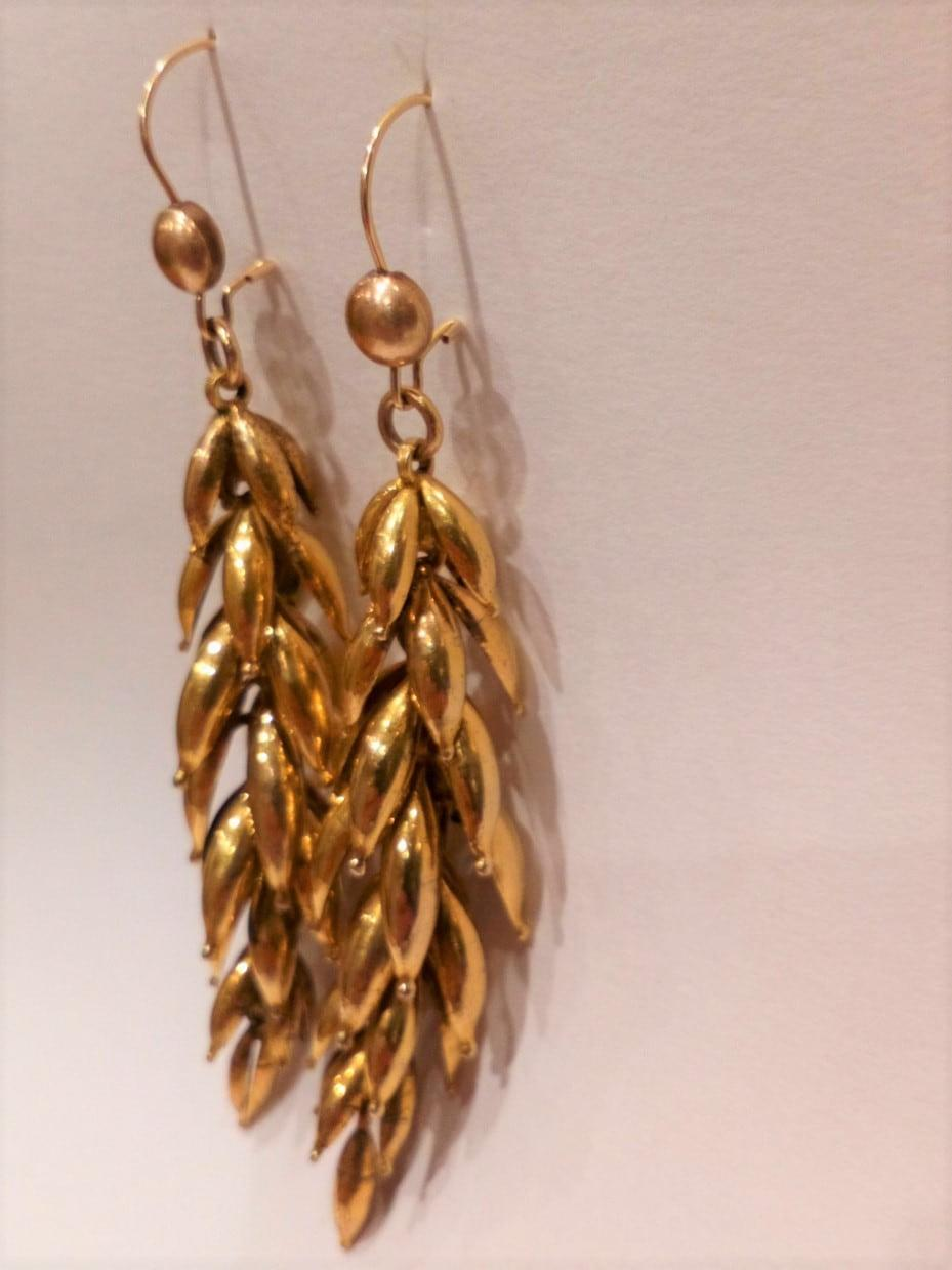 Antique Victorian Yellow Metal Articulated Long Cluster Earrings c 1870 3 inches