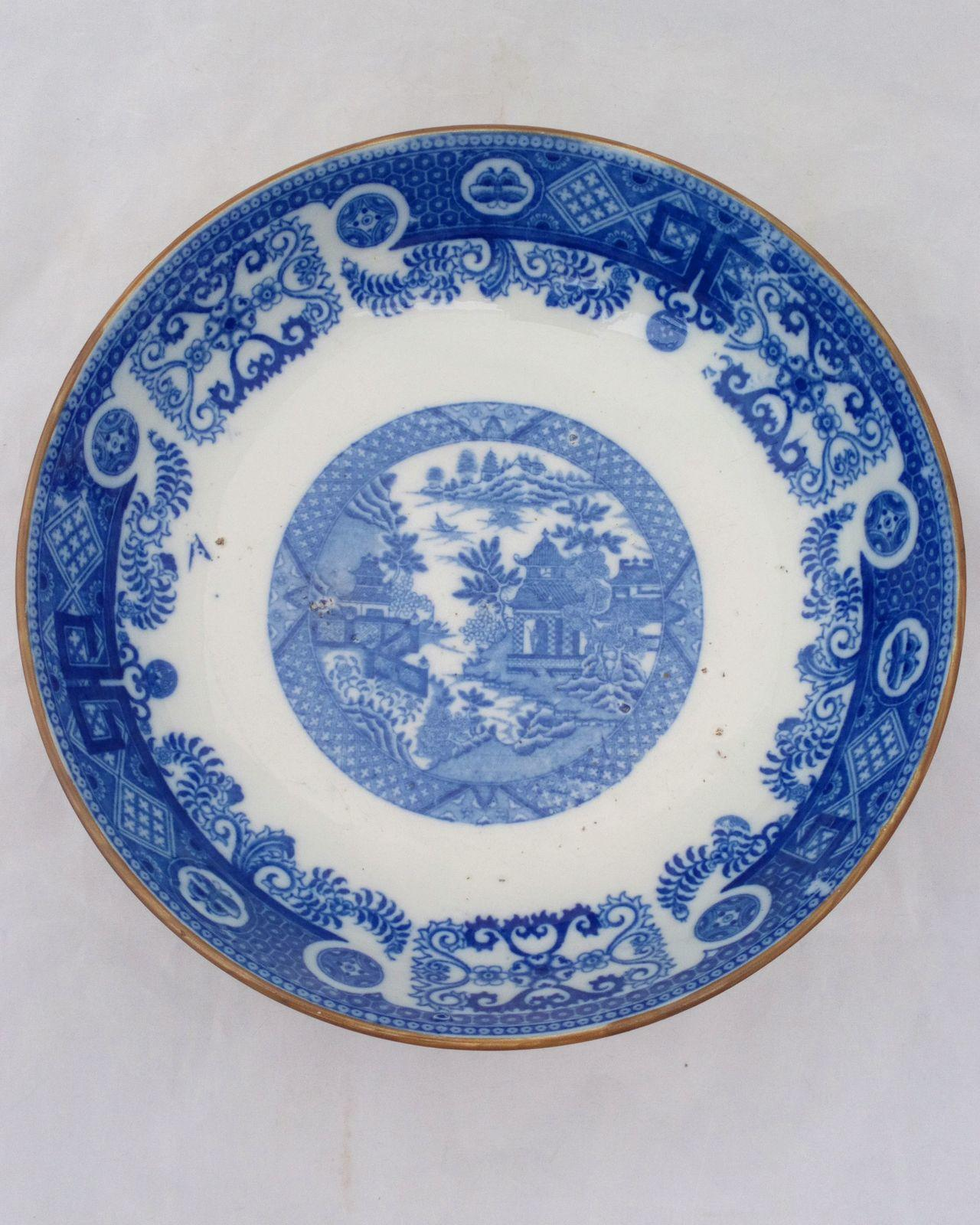 Antique Cambrian Pottery Blue & White Transfer Printed Pearlware Bowl decorated with the Bridgeless Chinoiserie or Hermit Pattern circa 1800