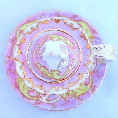 Continental Porcelain Ink Well Pink & Yellow Enamel Chamberstick Antique 19th C