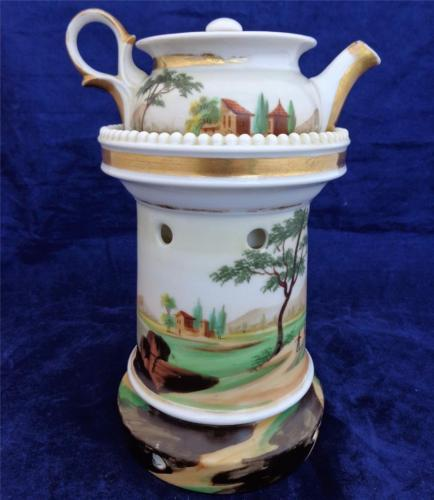 Paris Porcelain Veilleuse Théière Teapot on Stand Night Light  c 1860 Antique