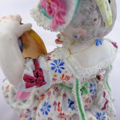 Antique Meissen Porcelain Figurine Girl Dog & Mirror M V Acier Model F50  c 1880