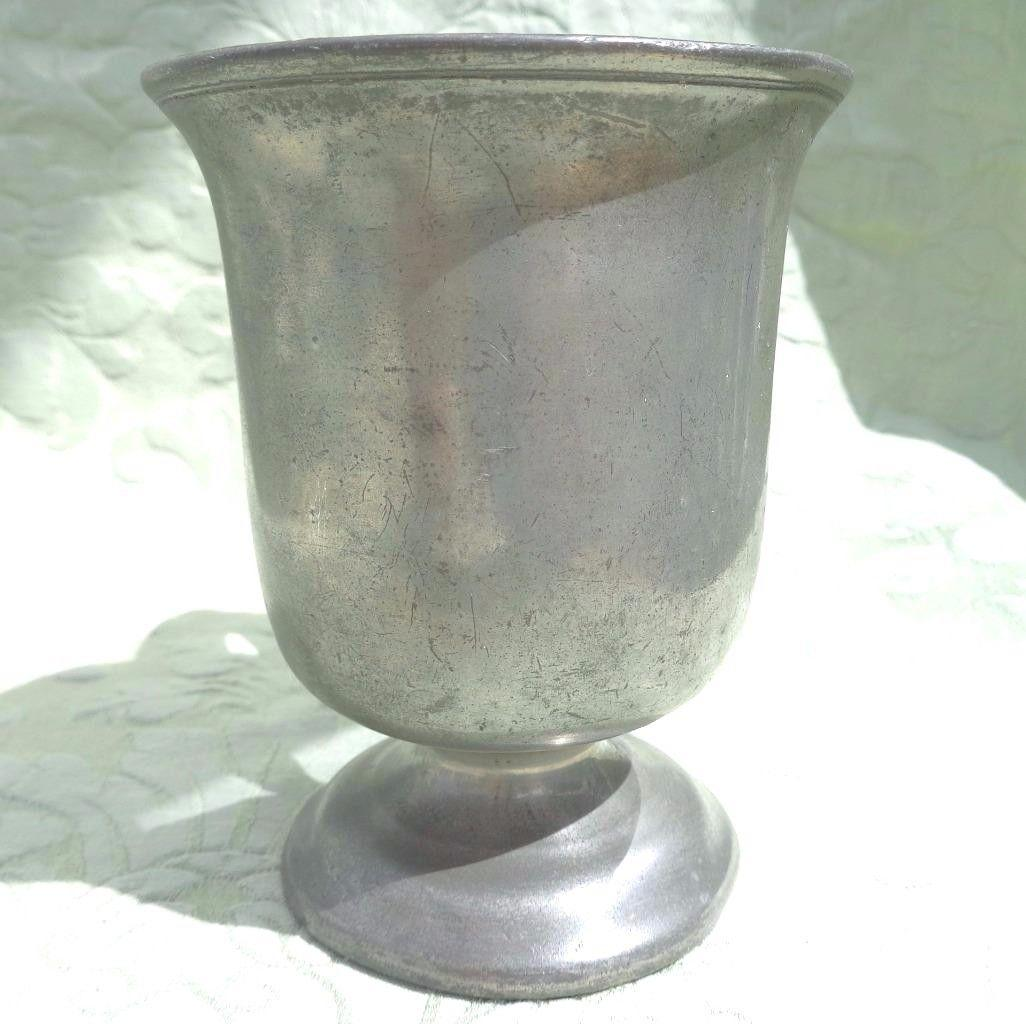 Antique Pewter Tankard High Footed Half Pint Mug Metrication Stamp VR LI  c 1850