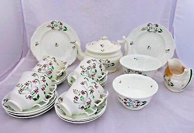 Antique Porcelain Teaset Furrowed London Shape Teapot Cup Gerrard Cope 30pc 1830