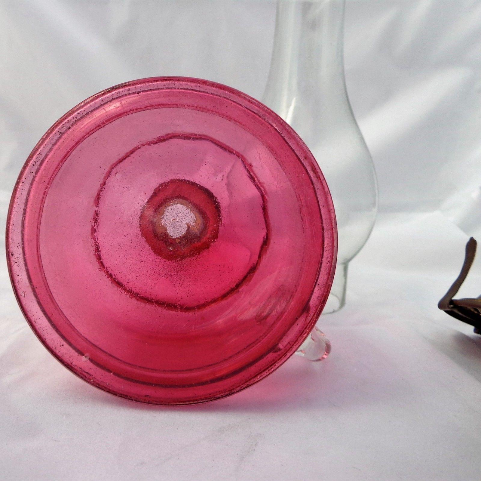 Antique Victorian Oil Lamp Cranberry Ruby Glass Applied Finger Handle c 1880