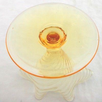 Art Nouveau Glass John Walsh Walsh Footed Posy Vase Pale Amber British Art Glass