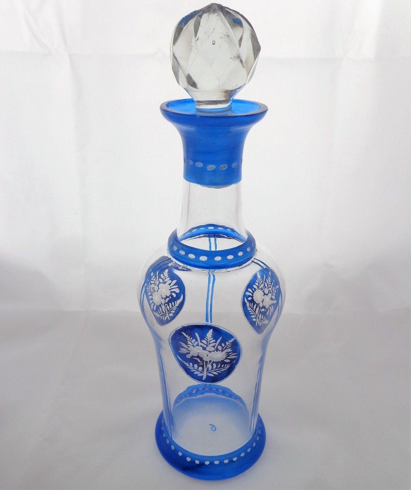 Art Deco French Glass Liqueur Decanter or Scent Bottle Blue Painted and Engraved