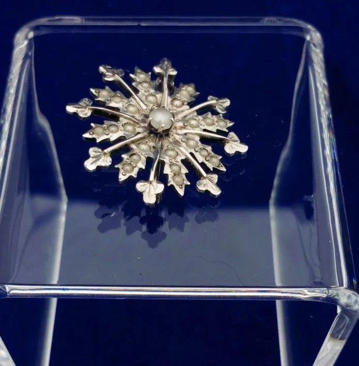 Antique Victorian Silver Starburst Brooch with Faux Split Pearls 1 inch c 1890