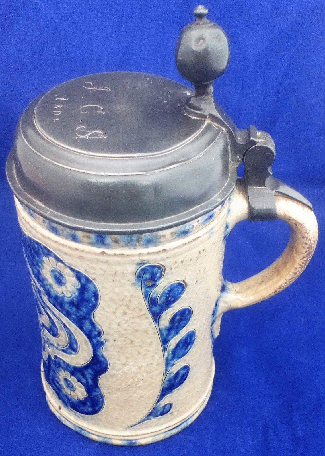 Antique Westerwald Salt Glazed Stoneware Tankard Blue Pewter Lid Dated 1804 JCS