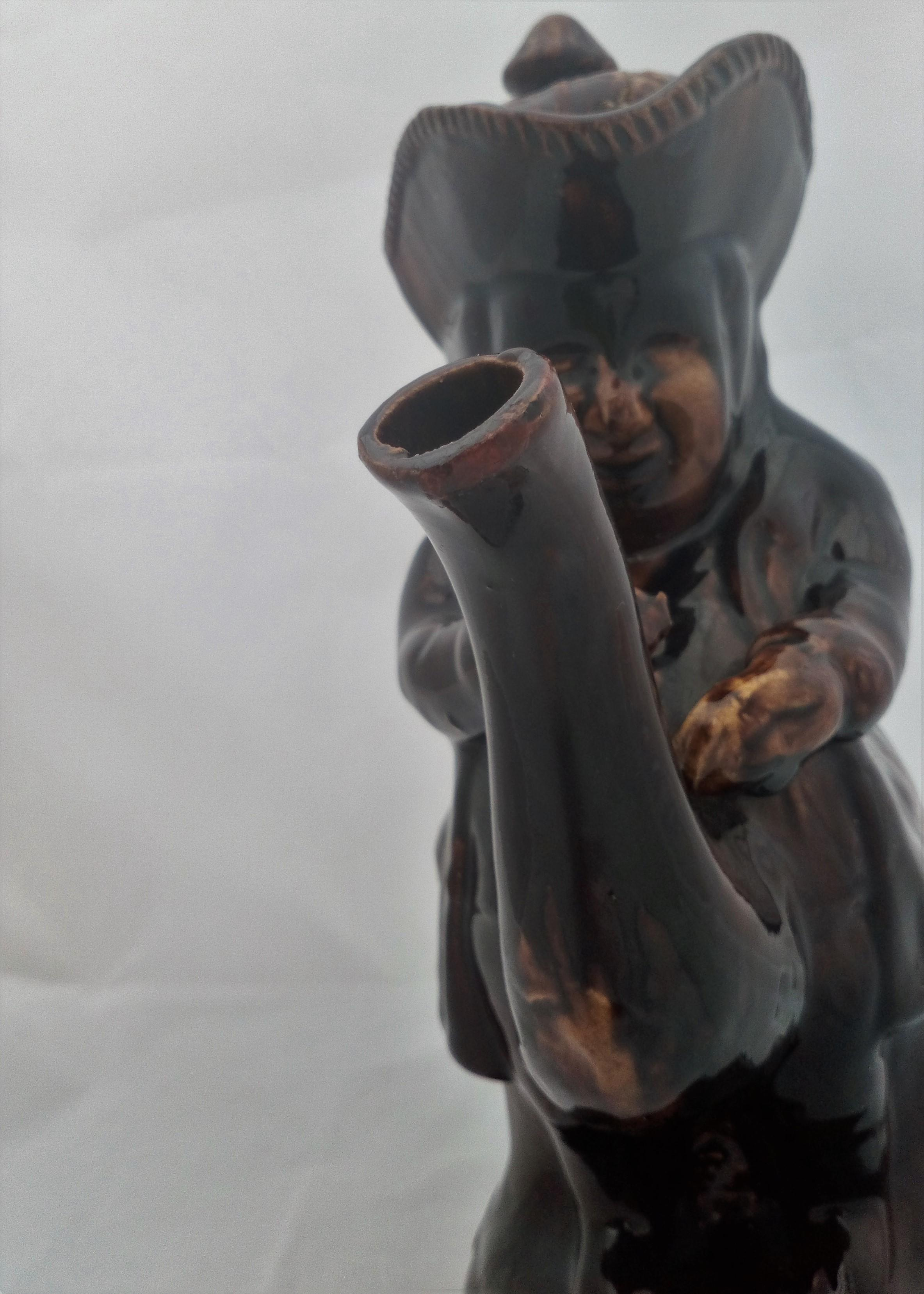 Novelty Teapot The Snuff Taker Rockingham Treacle Glazed  11 inch Antique c 1880
